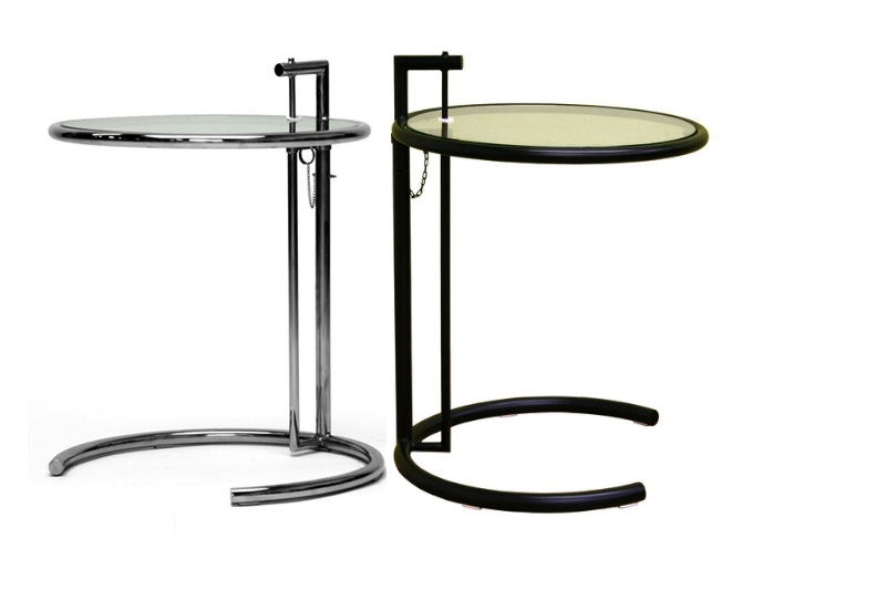RETRO MODERN END TABLE IN BLACK/CHROME GLASS TOP STEEL