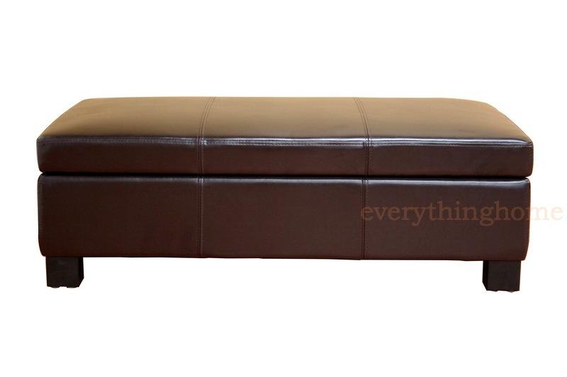 Dark Brown Large Rectangle Bonded Leather Storage Ottoman