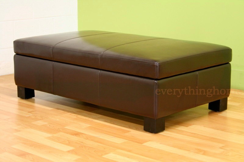 Dark Brown Large Rectangle Bonded Leather Storage Ottoman