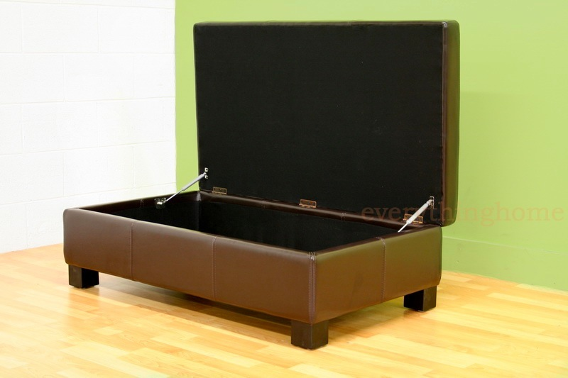 Dark brown large rectangle bonded leather storage ottoman coffee table bench ebay Dark brown leather ottoman coffee table