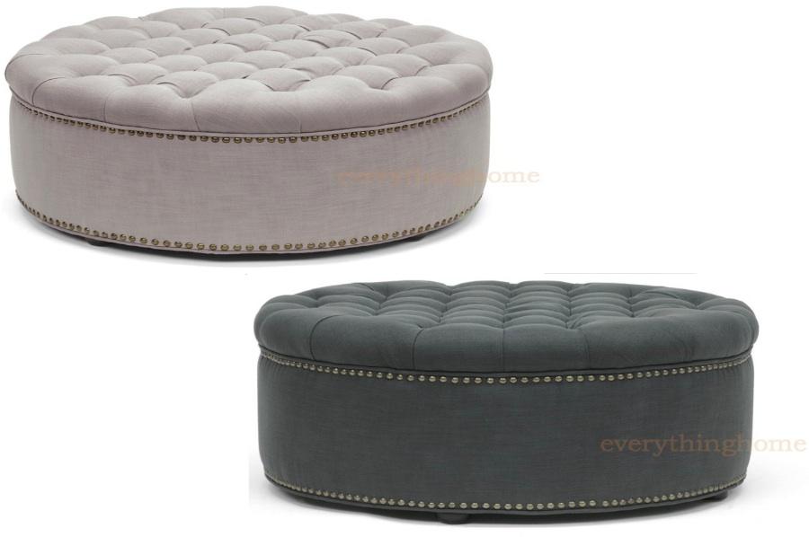 Modern Beige Or Dark Gray Linen Round Tufted Ottoman Foot Stool Brass Tack New Ebay