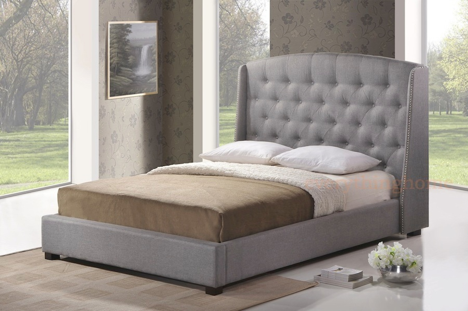 gray grey linen queen platform bed frame w tufted wingback nail head headboard ebay. Black Bedroom Furniture Sets. Home Design Ideas
