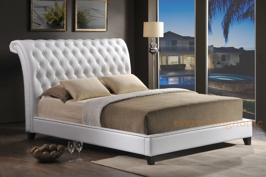 King Size Sleigh Bed with Leather Headboard 900 x 599