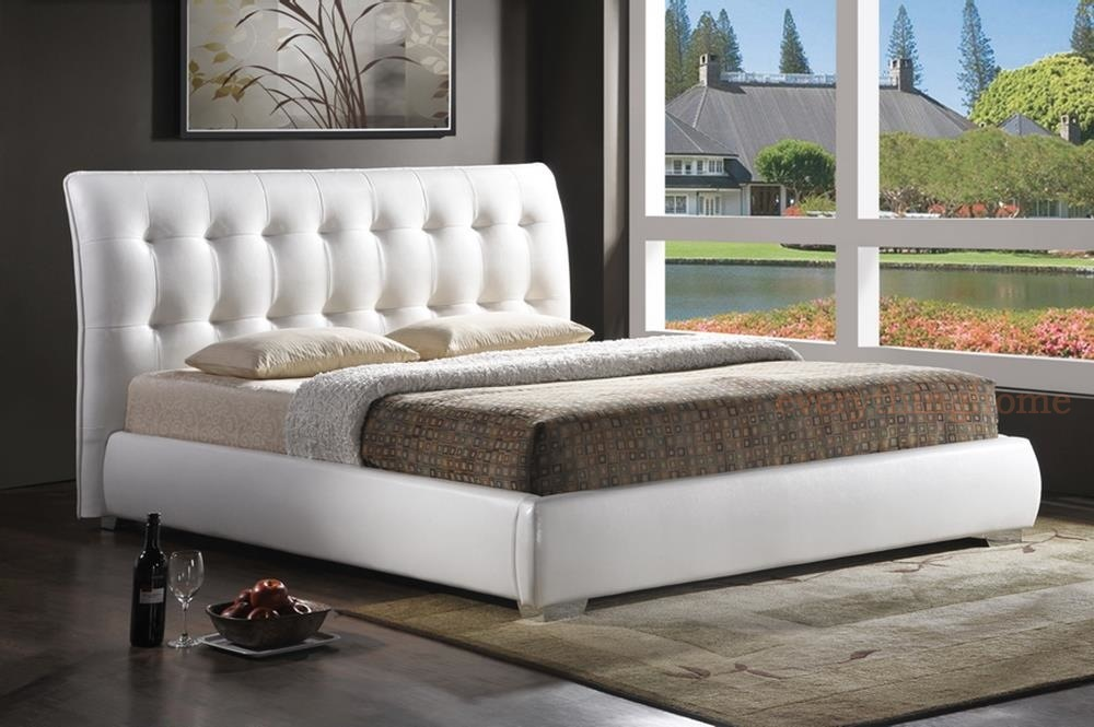 modern white faux leather tufted headboard platform bed full queen or king size ebay. Black Bedroom Furniture Sets. Home Design Ideas