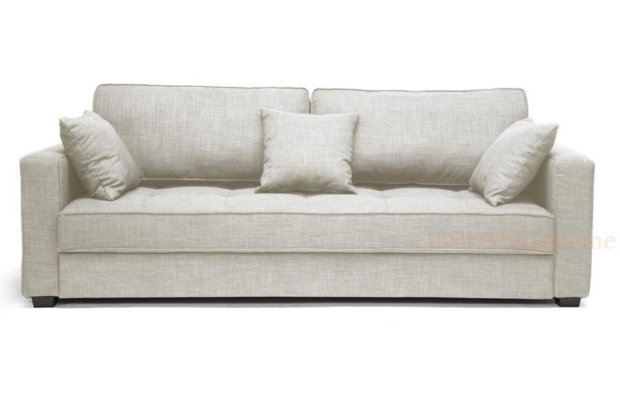 Modern Beige Linen Convertible Sofa Bed 3 Pillows Wood
