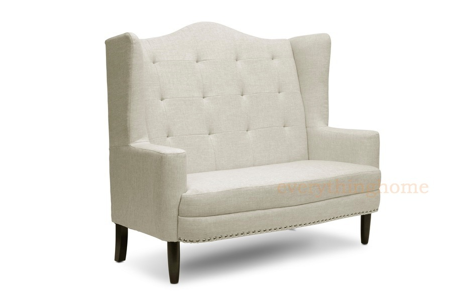 Foyer Settee Bed Bench : Modern beige dark gray grey linen tufted banquette sofa