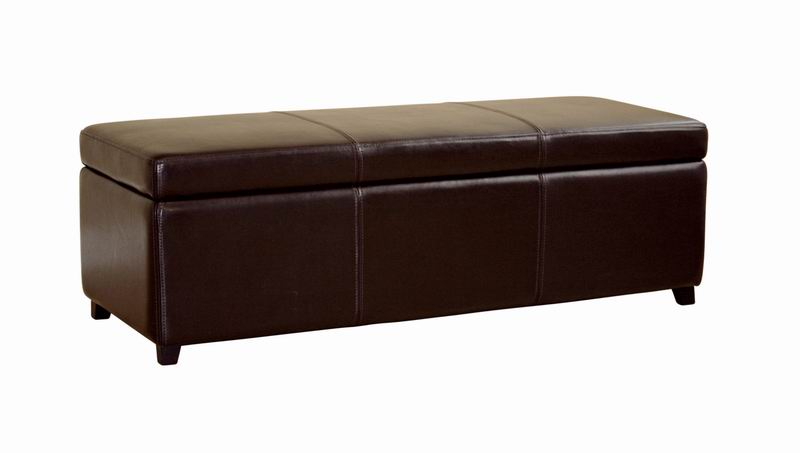 47 Long Dark Brown Leather Storage Ottoman Bench Chest Trunk Flip Top New Ebay