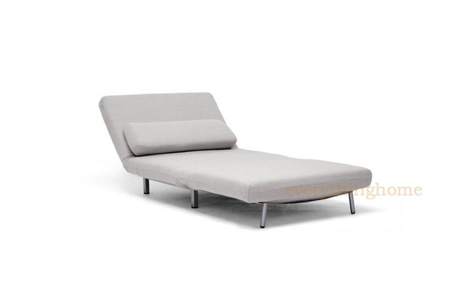 Modern cream twill fabric convertible chair sofa chaise for Chaise lounge convertible bed