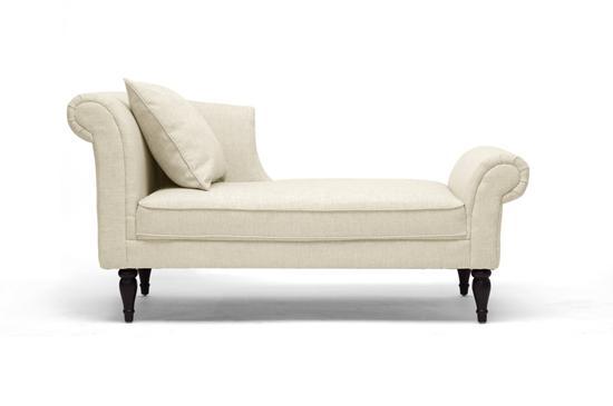 Beige linen modern victorian lounge chaise sofa regal for Modern victorian sofa