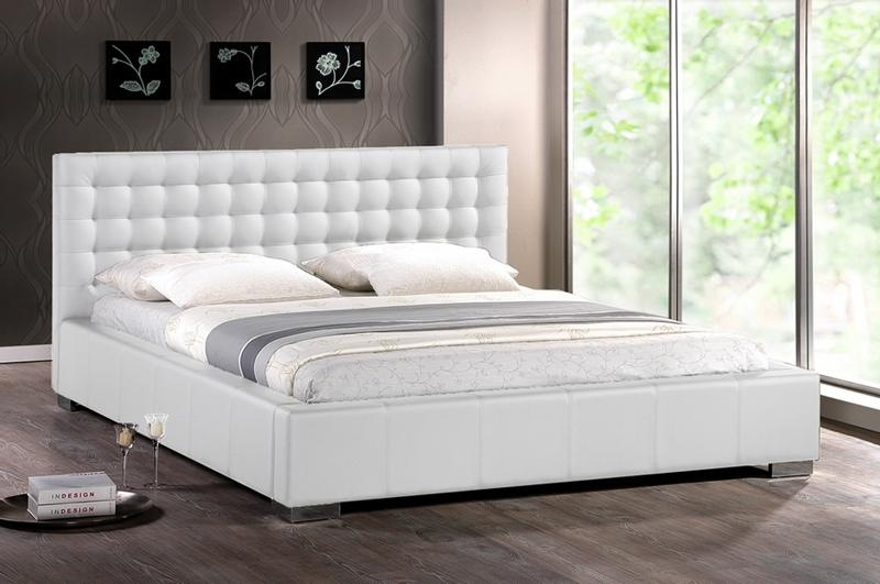 Details About Modern White Faux Leather Queen King Platform Bed Frame Tufted Padded Headboard