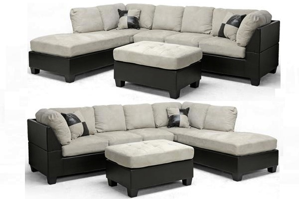 Modern brown faux leather gray beige microfiber sectional for Brown microfiber sectional with chaise