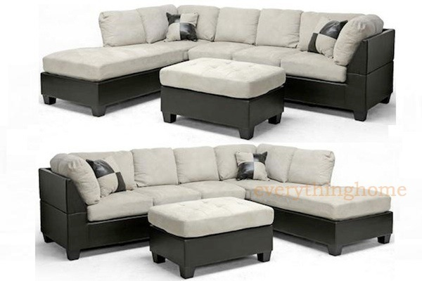 MODERN BROWN FAUX LEATHER GRAY-BEIGE MICROFIBER SECTIONAL