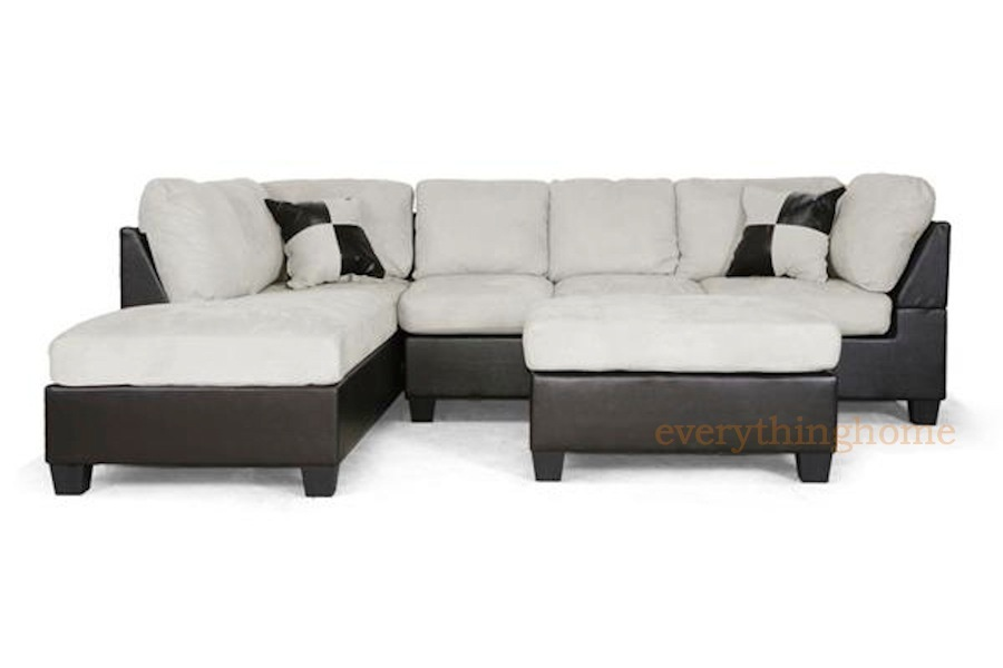 Modern brown faux leather gray beige microfiber sectional for Brown microfiber chaise lounge