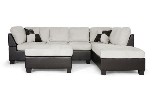 MODERN BROWN FAUX LEATHER GRAY BEIGE MICROFIBER SECTIONAL CHAISE SOFA OTTOMAN