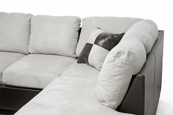 modern brown faux leather gray beige microfiber sectional chaise sofa ottoman ebay. Black Bedroom Furniture Sets. Home Design Ideas