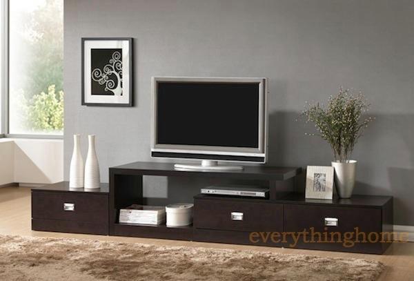 BROWN ASYMMETRICAL MODERN PLASMA LCD LED HD TV STAND MEDIA CREDENZA ...