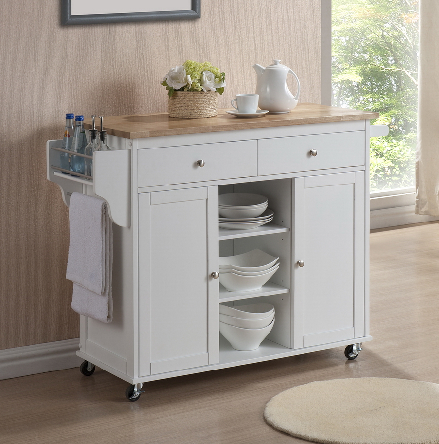 Small Kitchen Islands: MODERN WHITE LACQUERED KITCHEN CART CENTER ISLAND STORAGE