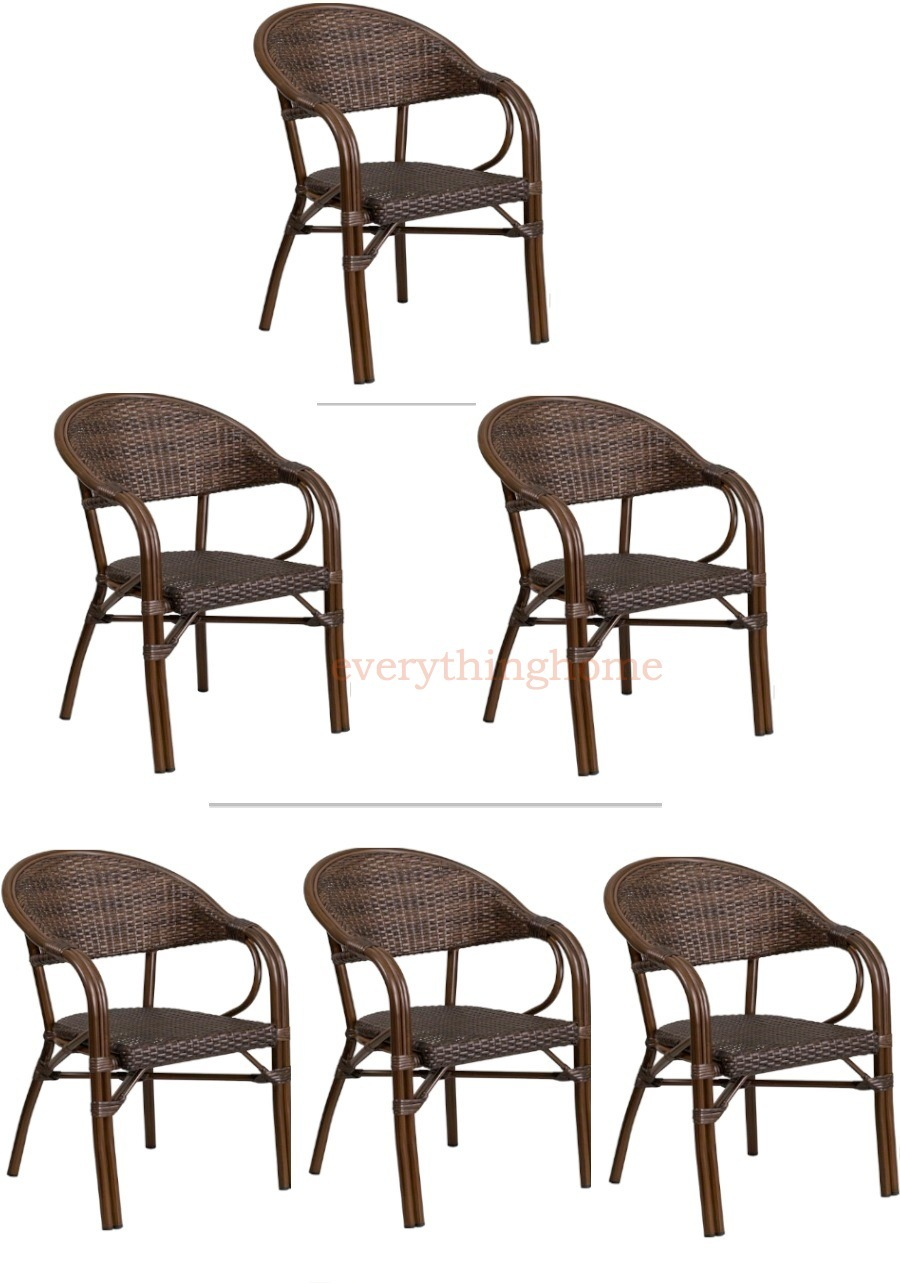 Details About 2 Tone Brown Rattan Restaurant Patio Dining Chair Bamboo Aluminum Frame In Out