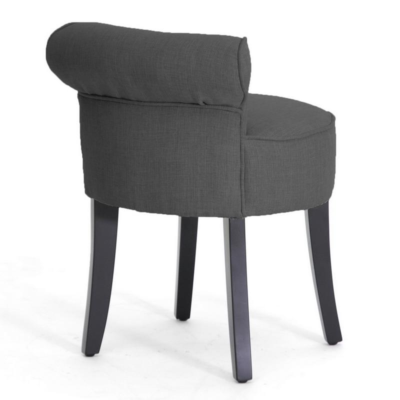 Light Gray Vanity Chair : GRAY LINEN MODERN BUTTON TUFTED LOW LOUNGE ACCENT PETITE VANITY STOOL SEAT CHAIR eBay
