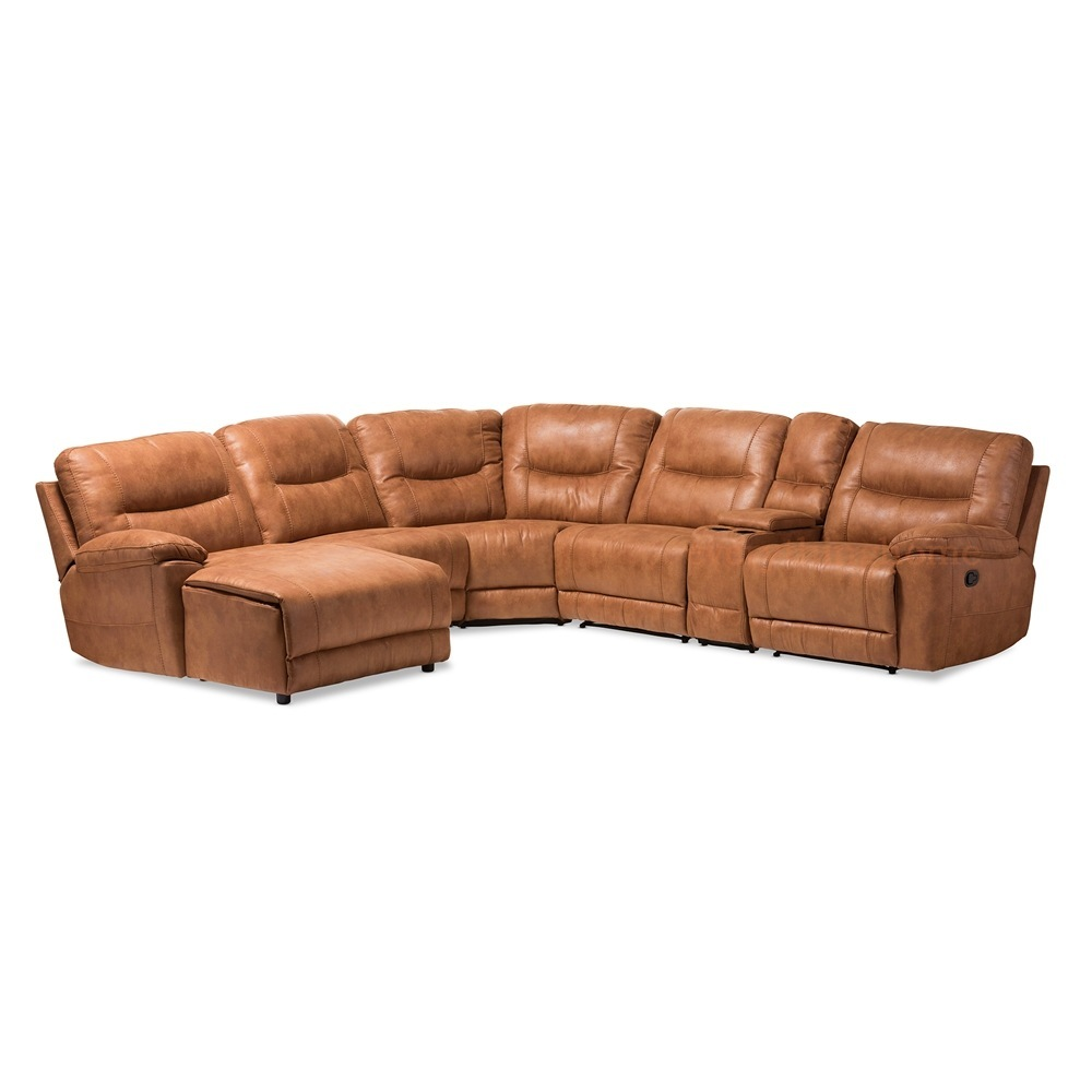 Details about Brown Cognac Palomino Suede* Large Sectional Sofa Recliners  Theater Lounge Suite