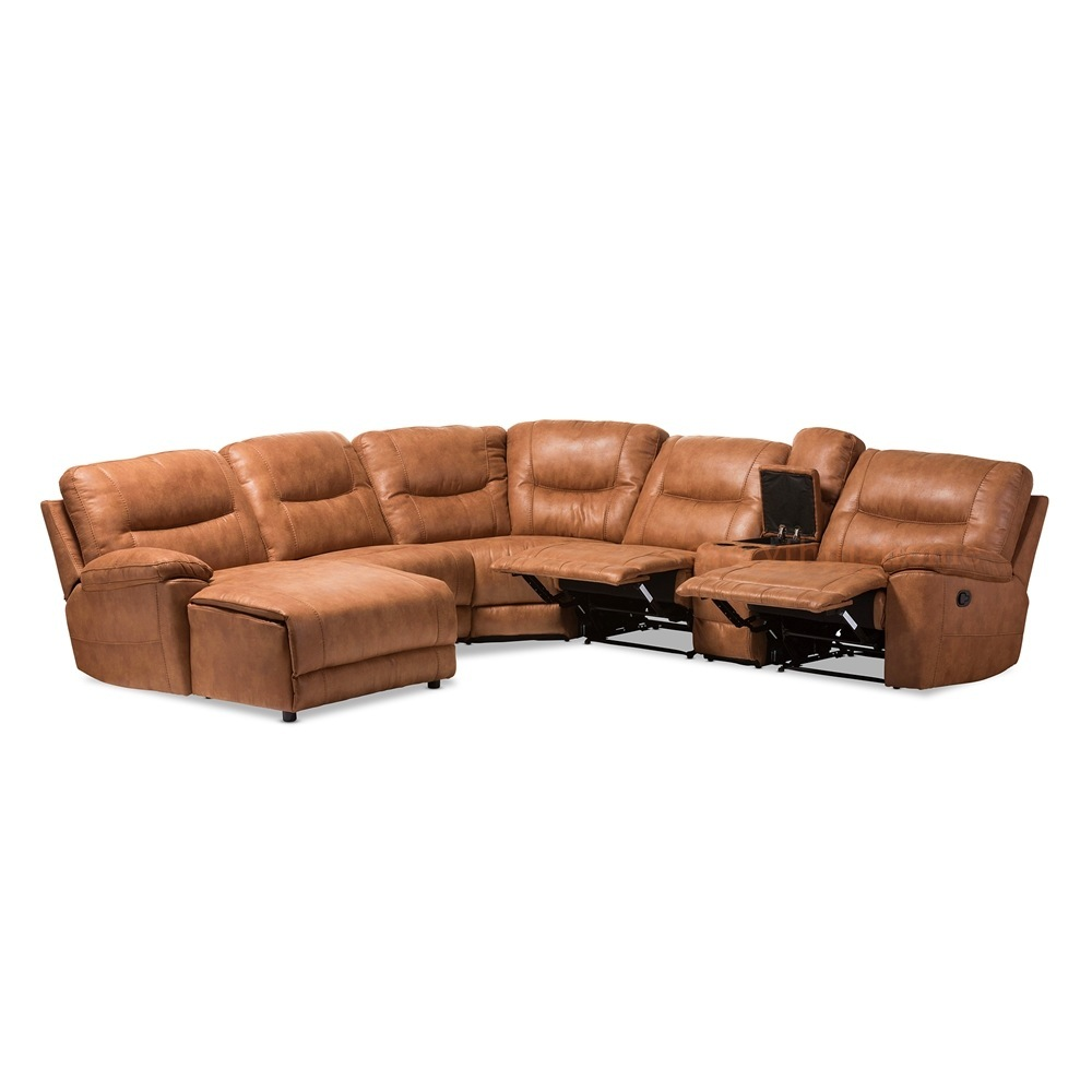 Brown Cognac Palomino Suede* Large Sectional Sofa Recliners Theater ...