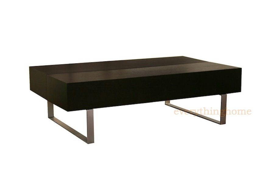 Modern Black Wood Rectangular Coffee Table Storage Compartments Steel Legs New Ebay