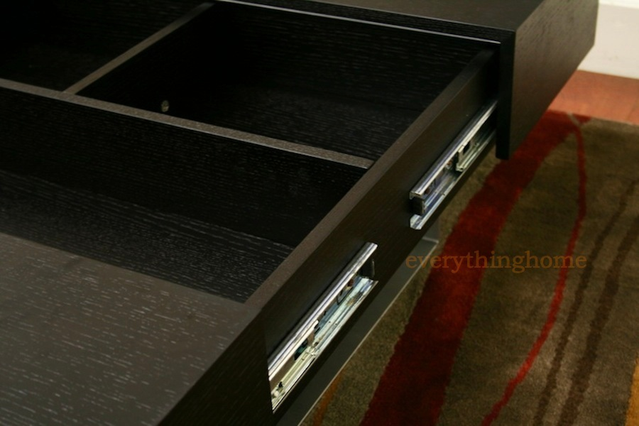 Modern Black Wood Rectangular Coffee Table Storage Compartments Steel Legs New Ebay