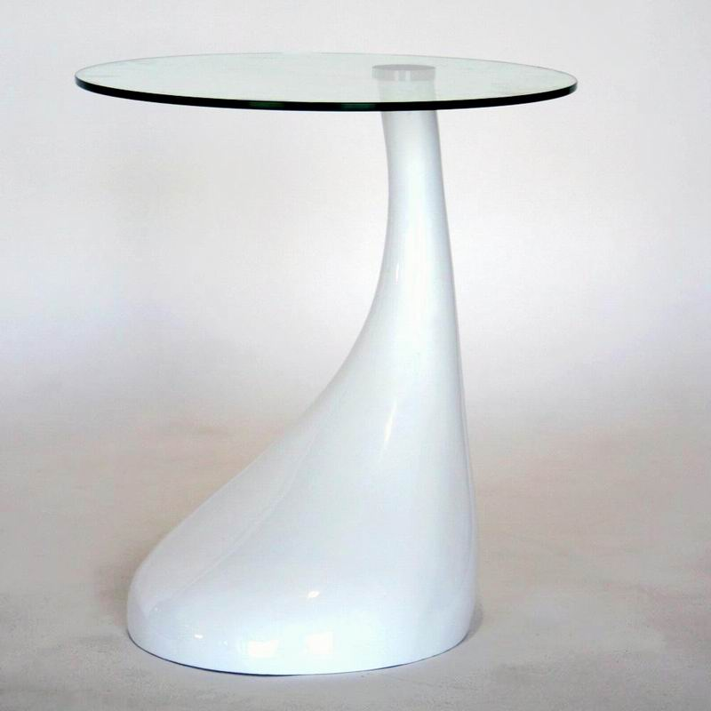 Modern plastic base round coffee end side accent table - White table with glass top ...