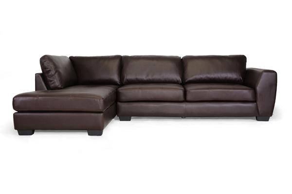 New Dark Brown Leather Modern Sectional Left Or Right Facing Chaise