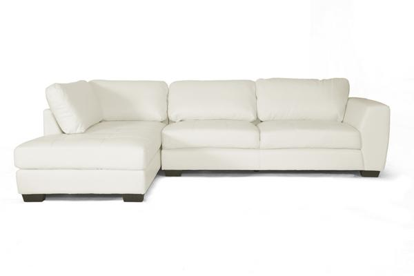 Sectional Off White Leather Modern Left Or Right Facing Chaise Sofa