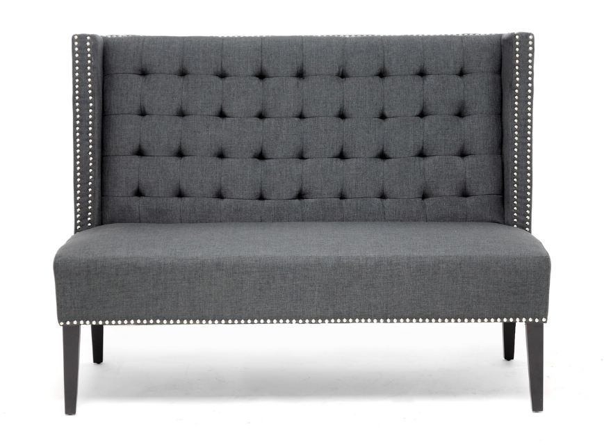 Grey Gray Modern Nail Head Tufted Banquette Linen Fabric Dining Bench Booth Ebay