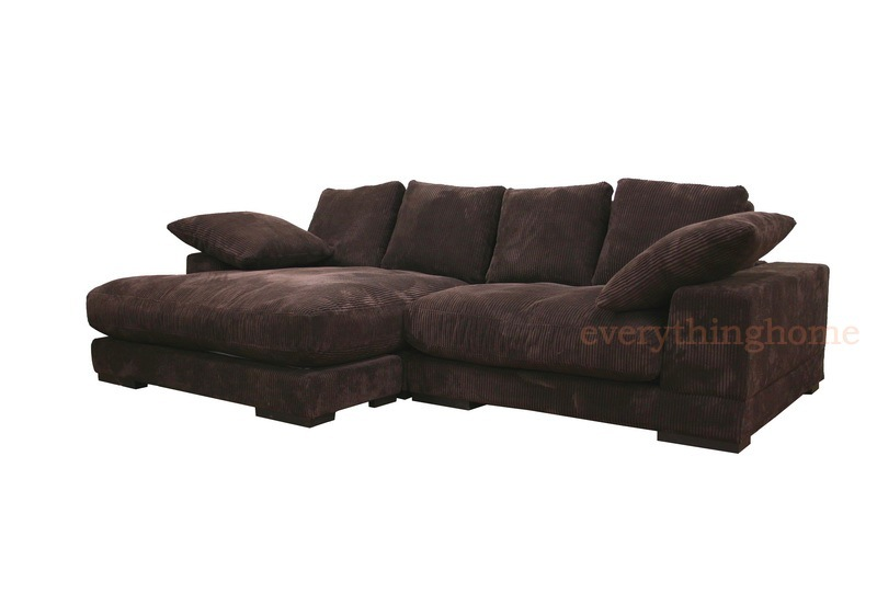 Modern brown ribbed microfiber sectional sofa with for Brown microfiber chaise lounge