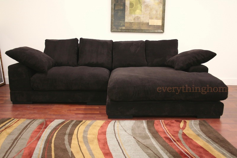Modern brown ribbed microfiber sectional sofa with for Black microfiber chaise lounge