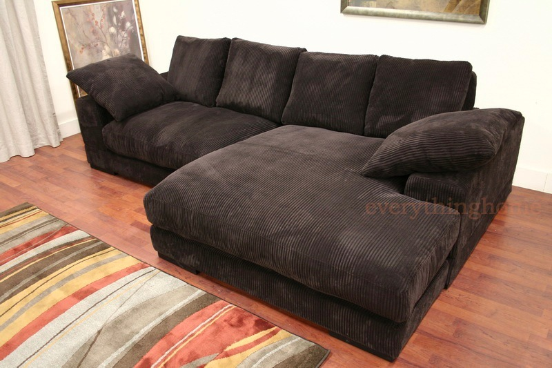 Modern brown ribbed microfiber sectional sofa with for Black microfiber chaise