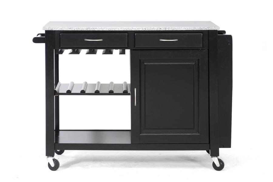 Modern Black Kitchen Island Cart Cabinet Wine Bottle Glass