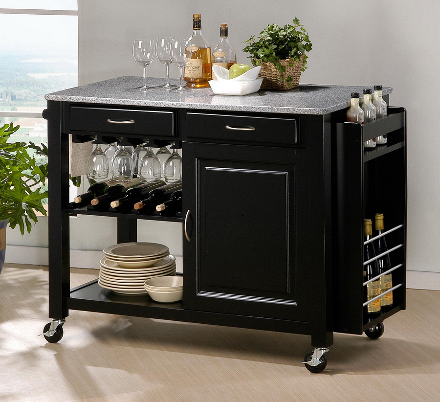 MODERN BLACK KITCHEN ISLAND CART CABINET WINE BOTTLE GLASS RACK GRANITE TOP N