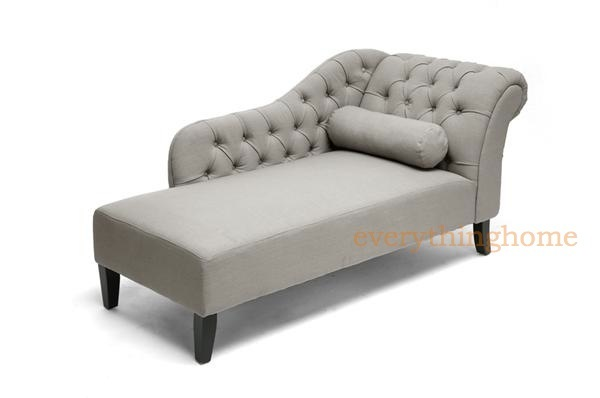 About GRAY TUFTED LINEN FABRIC MODERN VICTORIAN TUFTED LOUNGE CHAISE