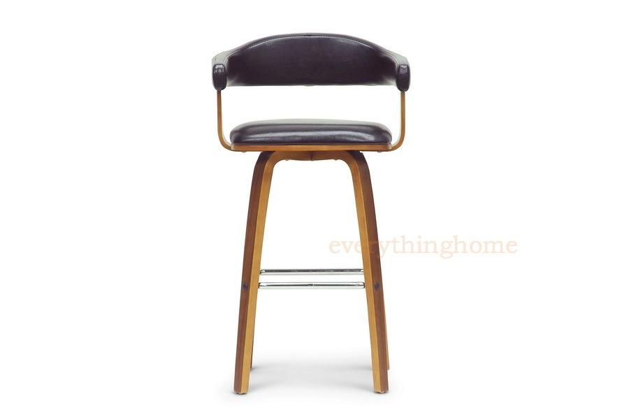 Faux leather mid century modern wood counter stool designer new ebay
