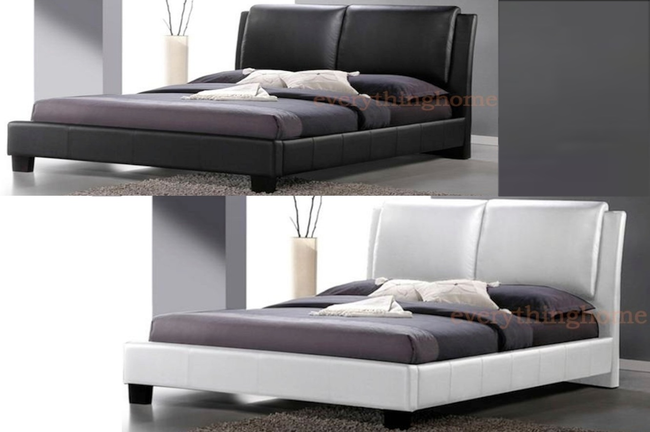 modern white or black faux leather double full bed frame. Black Bedroom Furniture Sets. Home Design Ideas