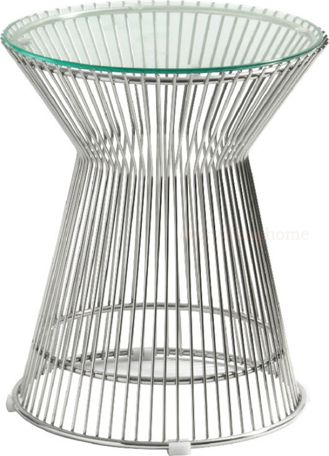 Details About Platner Style End Table Stainless Steel Spoke Wire Glass  Mid Century Modern