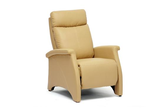 Modern Tan Faux Leather Recliner Home Theater Seating Club Chair Seat