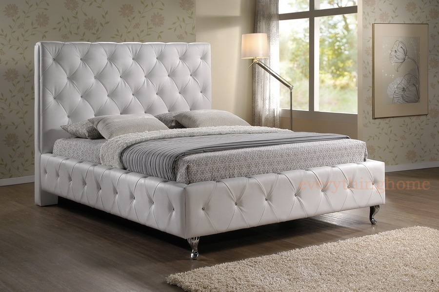 QUEEN OR KING MODERN WHITE FAUX LEATHER PADDED CRYSTAL TUFTED