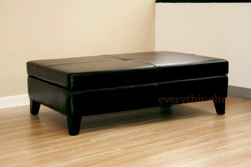 BLACK LEATHER RECTANGLE DEEP WIDE STORAGE OTTOMAN BENCH COFFEE TABLE