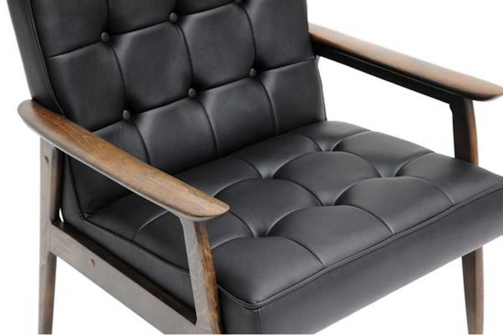 Black Mid Century Modern Faux Leather Button Tufted Club