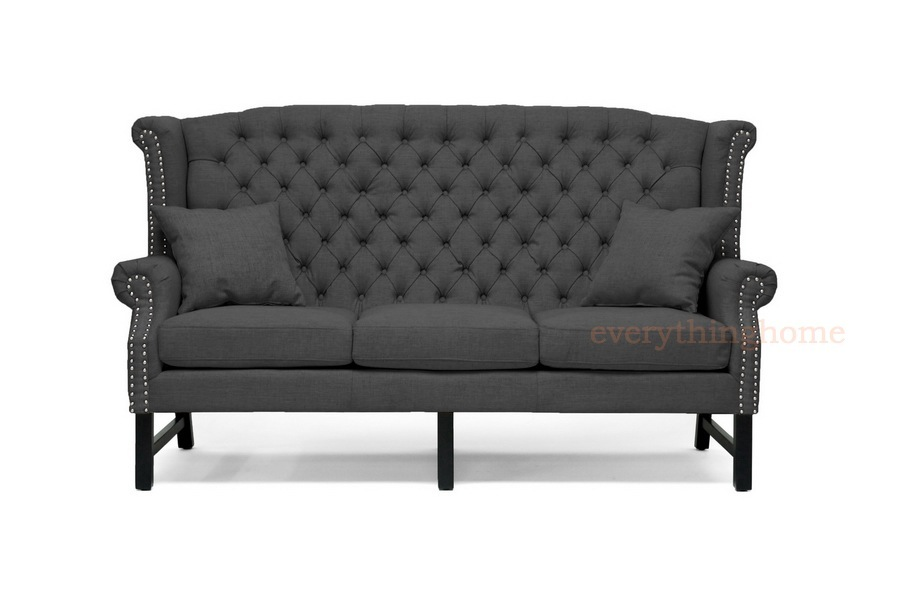 modern dark gray grey linen button tufted high wing scroll back nail head sofa ebay. Black Bedroom Furniture Sets. Home Design Ideas