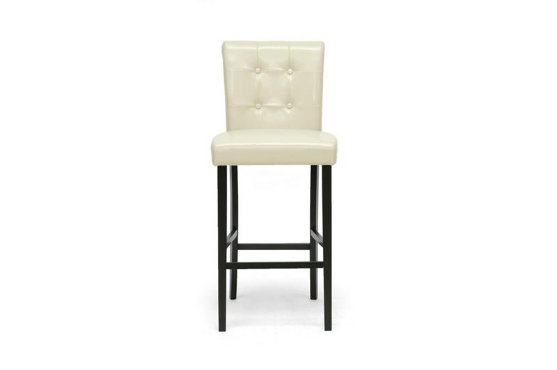 2 Cream White Button Tufted Modern Faux Leather Bar Stools