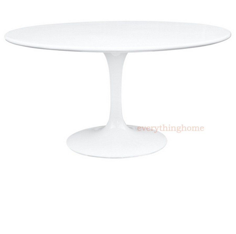 WHITE SAARINEN STYLE TULIP DINING TABLE LACQUERED CHIP RESISTANT - Tulip table wood top