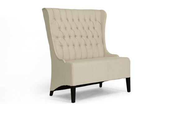 Beige Linen Modern Button Tufted Banquette Dining Loveseat Bench Booth Tall Back Ebay