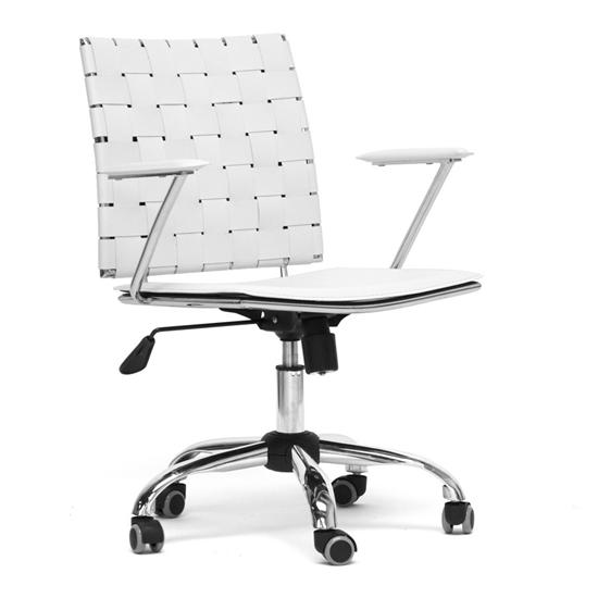 WHITE LEATHER MODERN ADJUSTABLE SWIVEL OFFICE DESK CHAIR