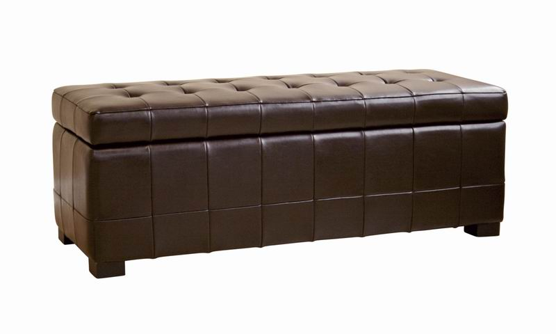 Dark Brown Modern Classic Leather Tufted Dimpled Leather Storage Ottoman Bench